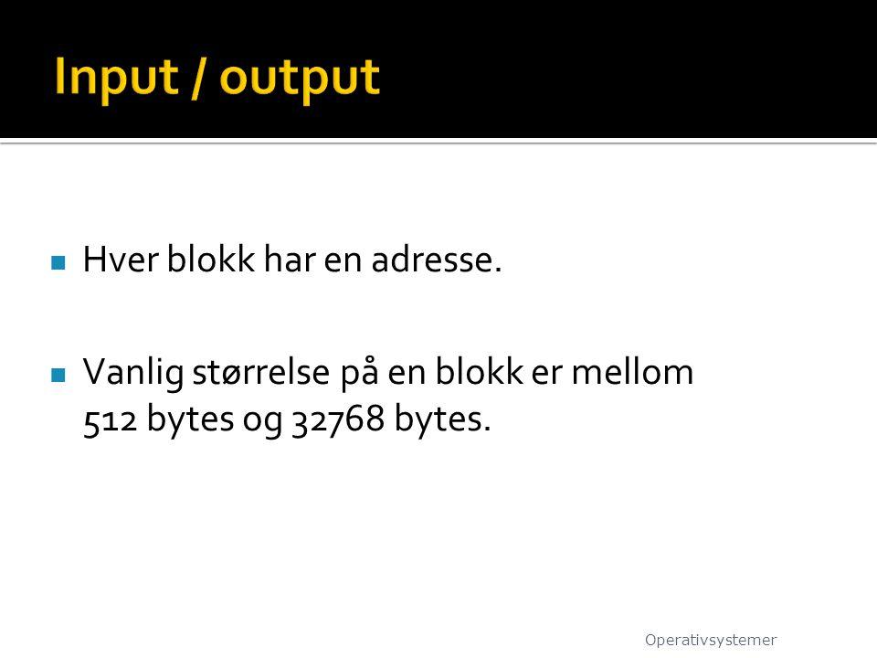Input / output Hver blokk har en adresse.