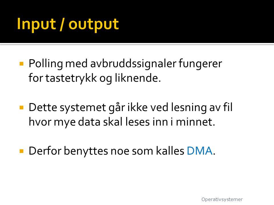 Input / output Polling med avbruddssignaler fungerer for tastetrykk og liknende.