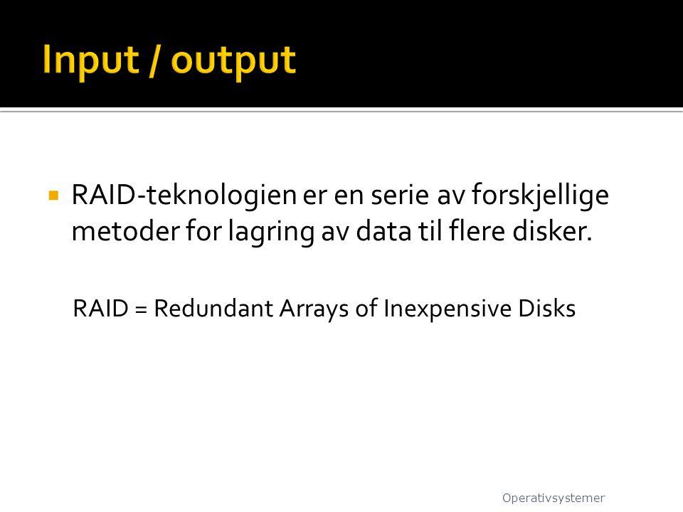Input / output RAID-teknologien er en serie av forskjellige metoder for lagring av data til flere disker.