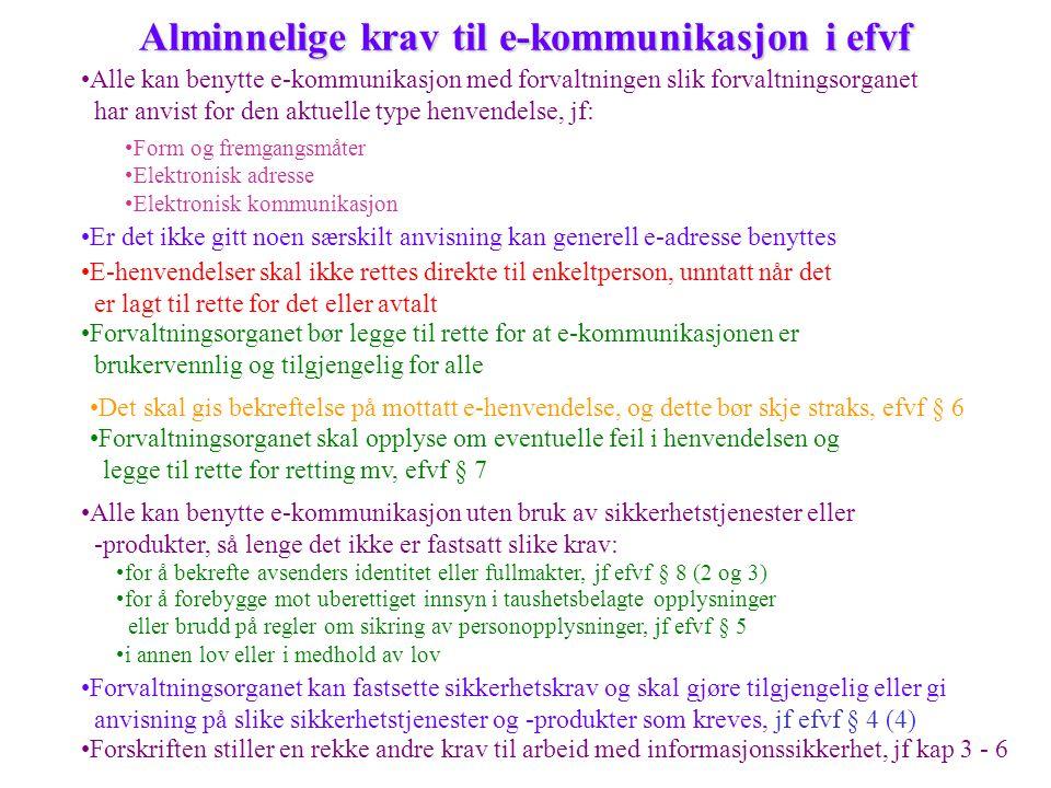 Alminnelige krav til e-kommunikasjon i efvf