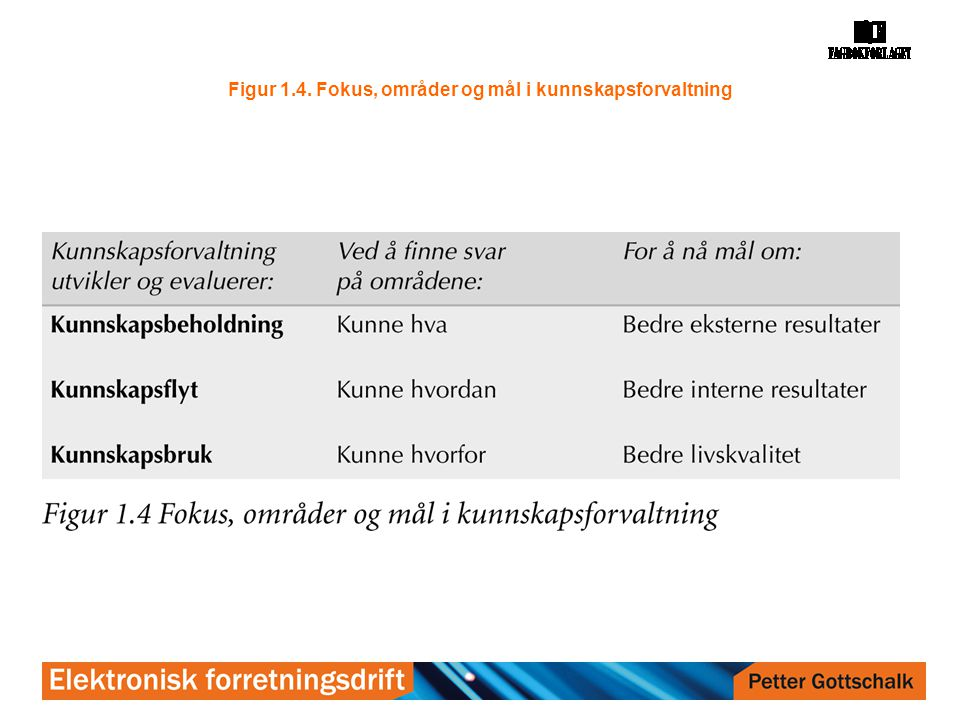 Figur 1.4. Fokus, områder og mål i kunnskapsforvaltning