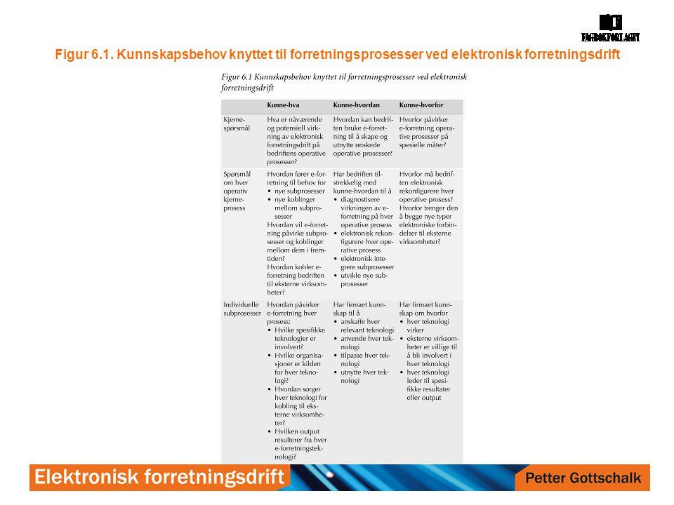 Figur 6.1. Kunnskapsbehov knyttet til forretningsprosesser ved elektronisk forretningsdrift