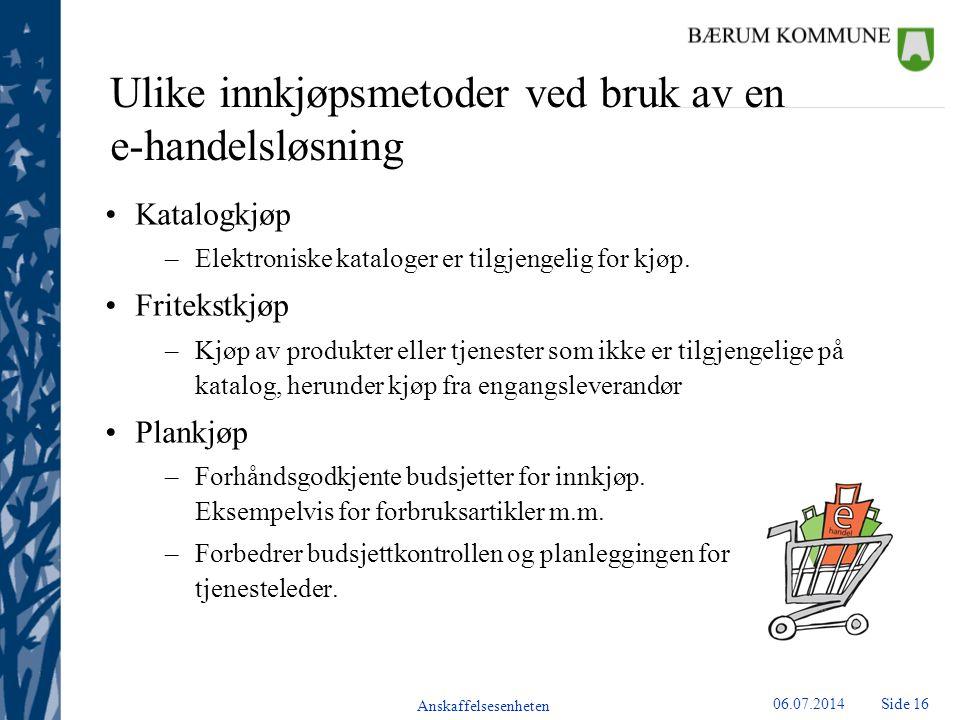 Ulike innkjøpsmetoder ved bruk av en e-handelsløsning