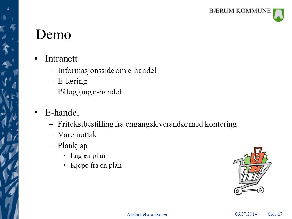 Demo Intranett E-handel Informasjonsside om e-handel E-læring
