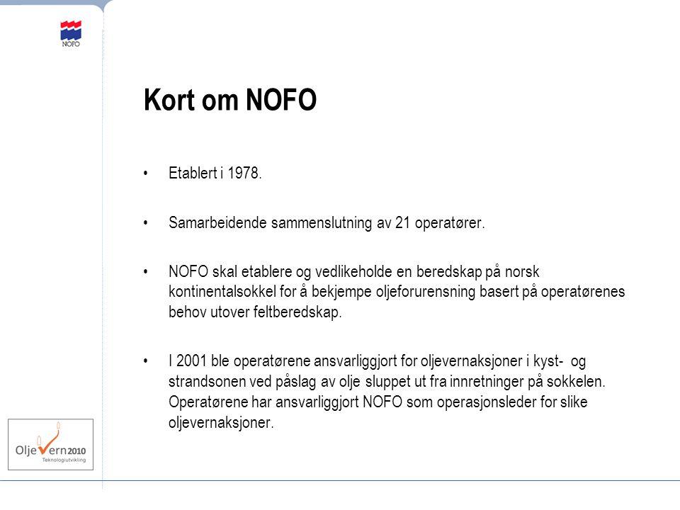 Kort om NOFO Etablert i 1978. Samarbeidende sammenslutning av 21 operatører.