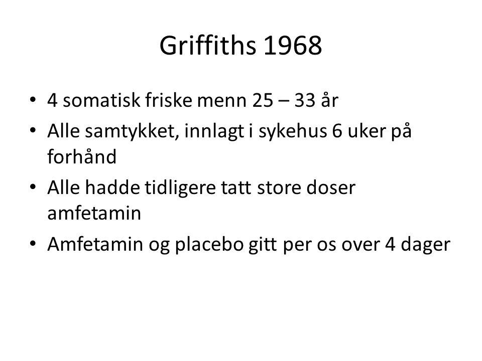 Griffiths 1968 4 somatisk friske menn 25 – 33 år