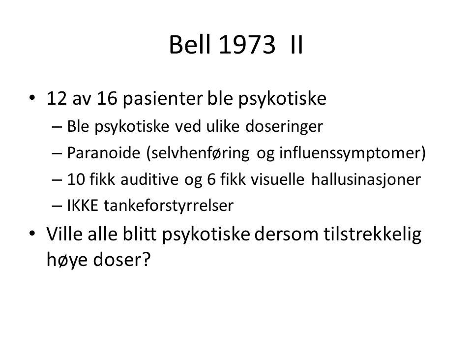 Bell 1973 II 12 av 16 pasienter ble psykotiske