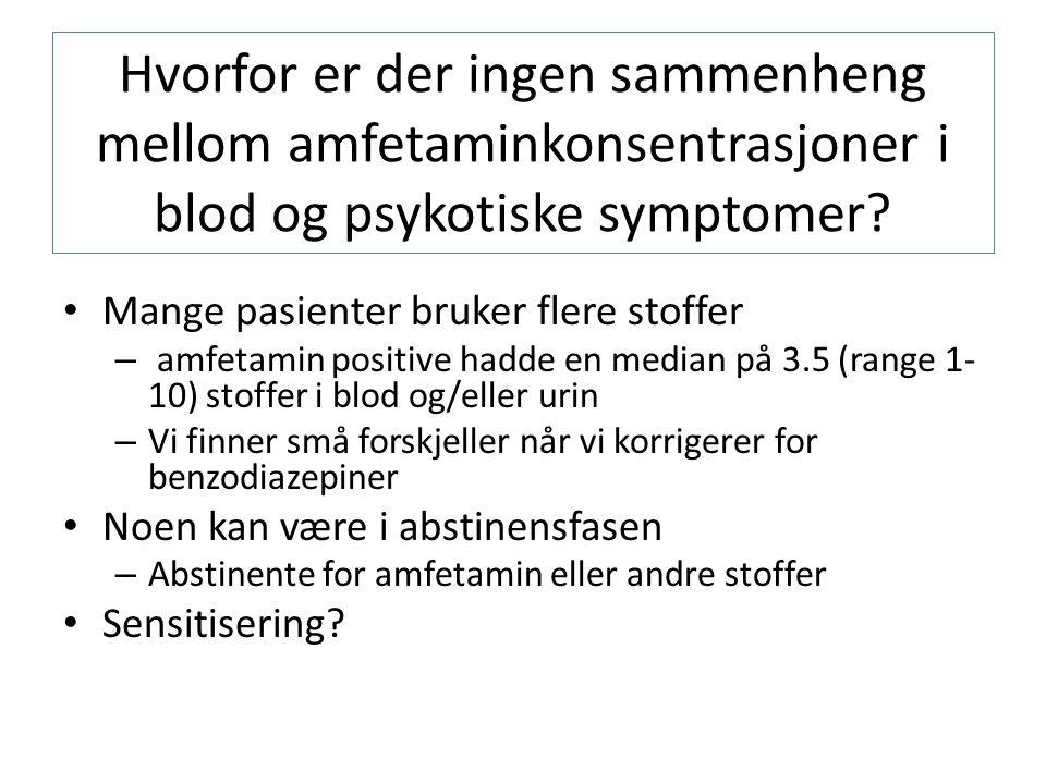 Hvorfor er der ingen sammenheng mellom amfetaminkonsentrasjoner i blod og psykotiske symptomer