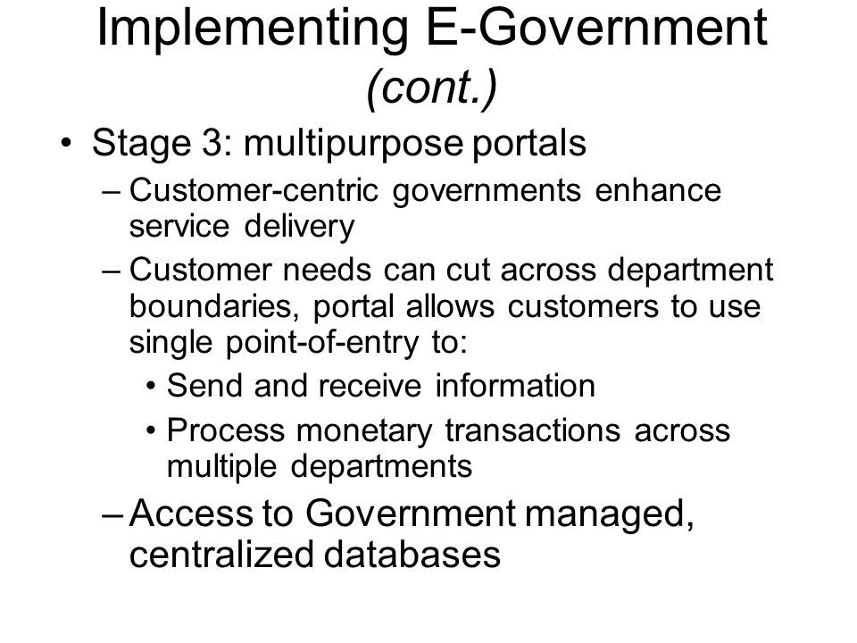 Implementing E-Government (cont.)