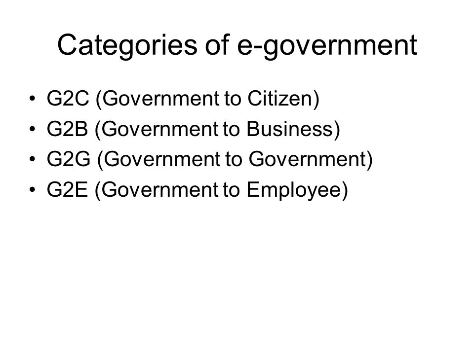 Categories of e-government