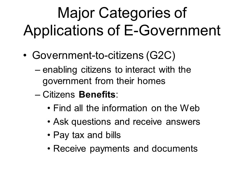 Major Categories of Applications of E-Government