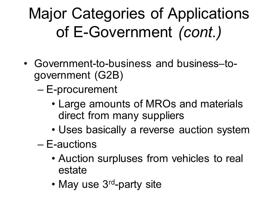 Major Categories of Applications of E-Government (cont.)