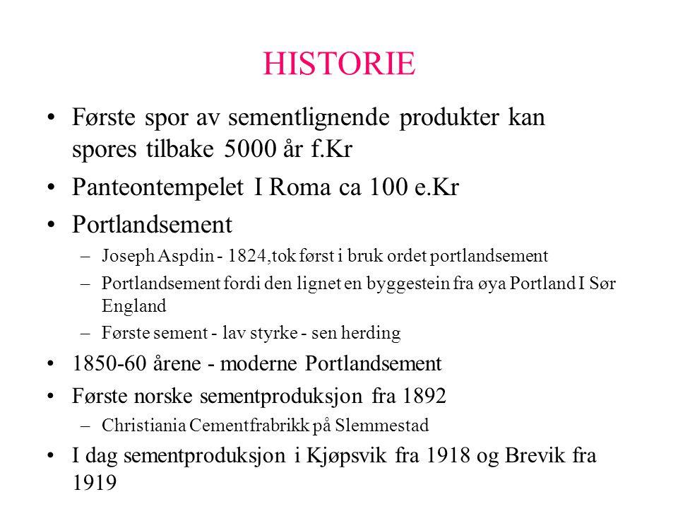 HISTORIE Første spor av sementlignende produkter kan spores tilbake 5000 år f.Kr. Panteontempelet I Roma ca 100 e.Kr.