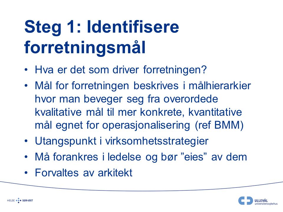 Steg 1: Identifisere forretningsmål