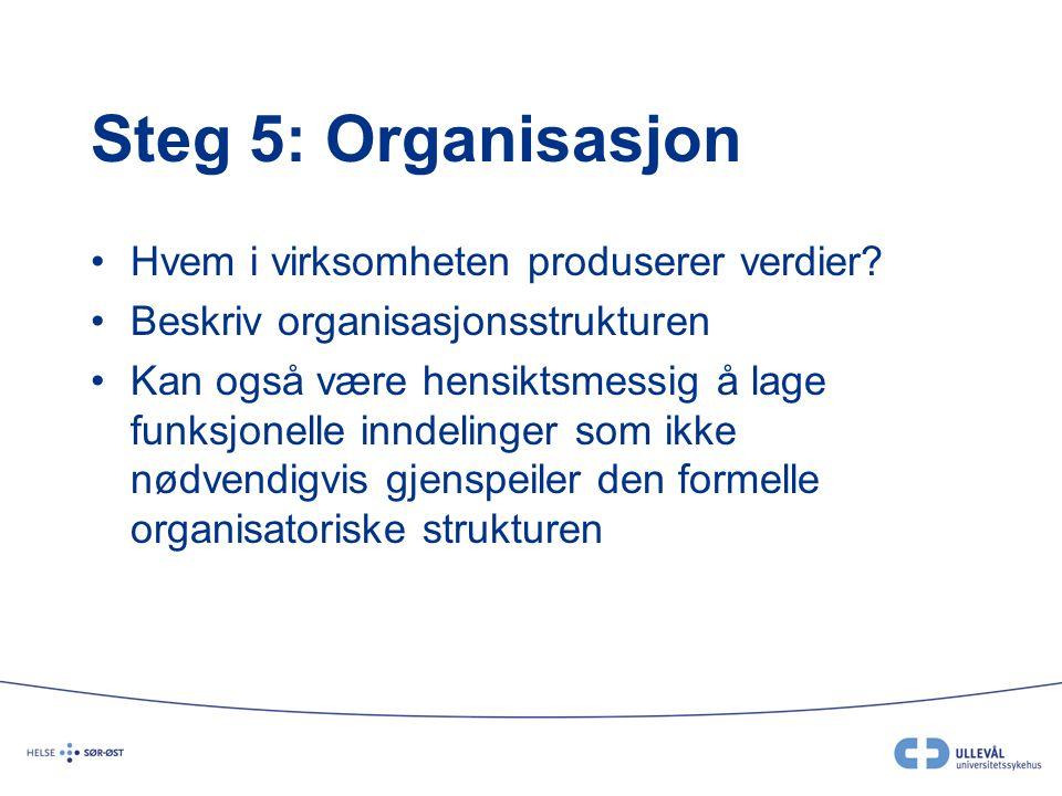 Steg 5: Organisasjon Hvem i virksomheten produserer verdier