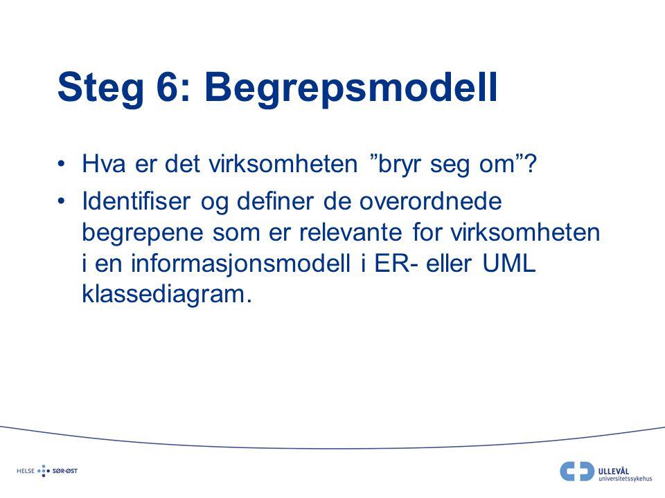 Steg 6: Begrepsmodell Hva er det virksomheten bryr seg om