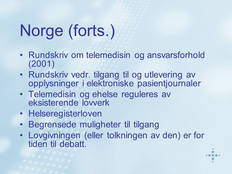 Norge (forts.) Rundskriv om telemedisin og ansvarsforhold (2001)