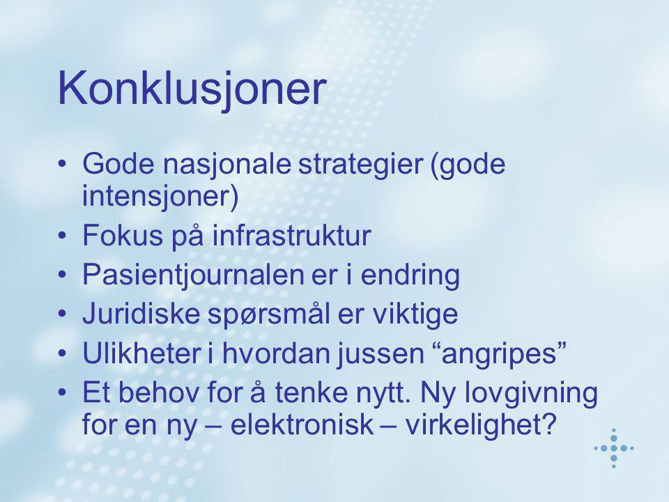 Konklusjoner Gode nasjonale strategier (gode intensjoner)