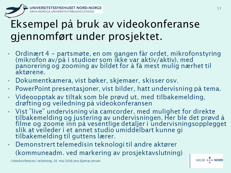 Eksempel på bruk av videokonferanse gjennomført under prosjektet.