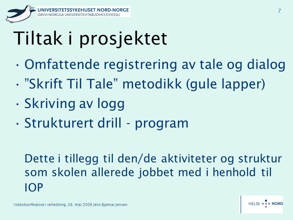 Tiltak i prosjektet Omfattende registrering av tale og dialog