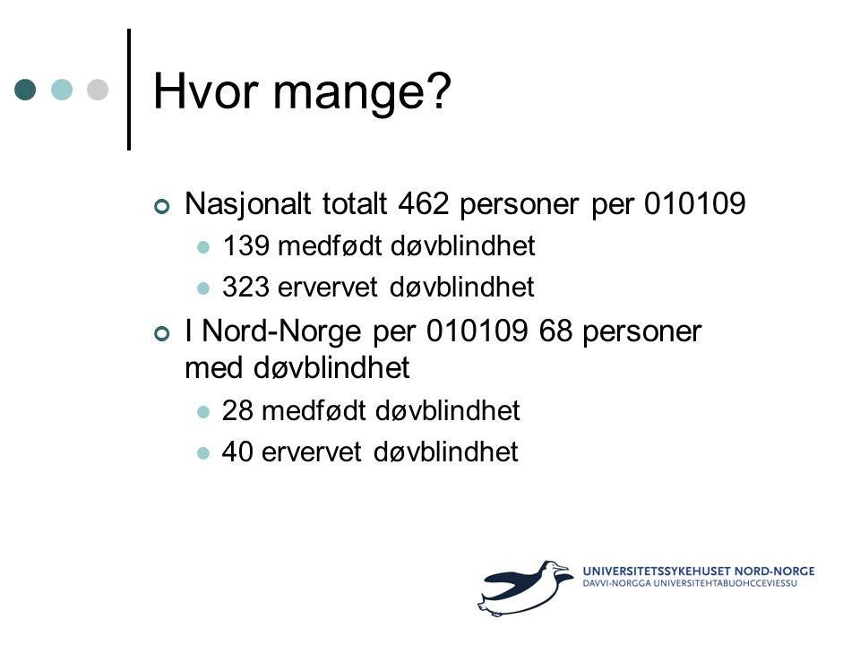 Hvor mange Nasjonalt totalt 462 personer per 010109