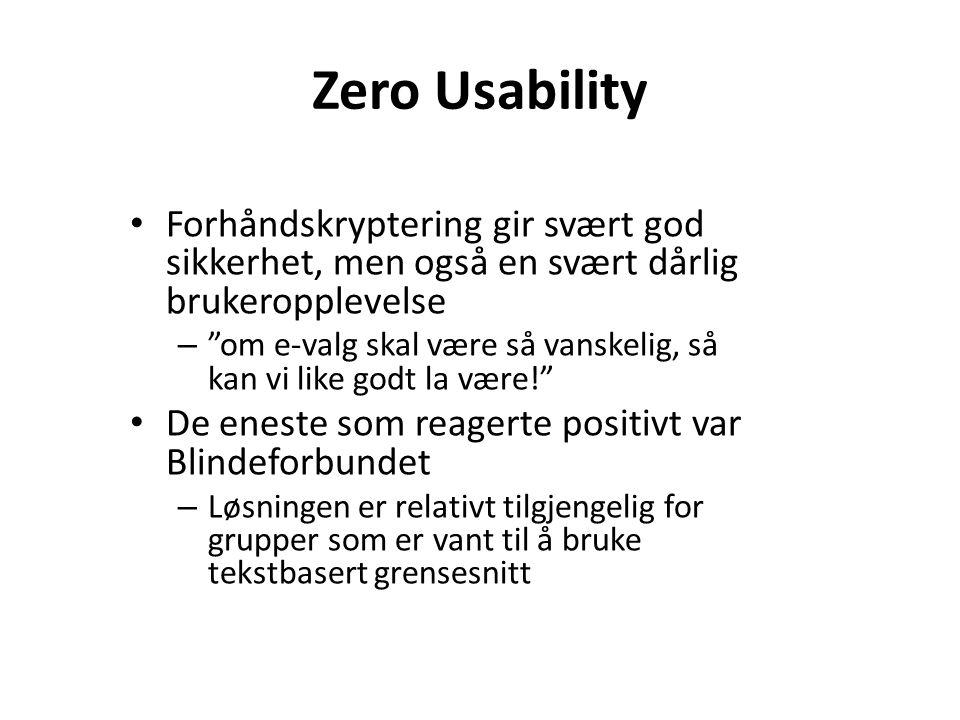 Zero Usability Forhåndskryptering gir svært god sikkerhet, men også en svært dårlig brukeropplevelse.