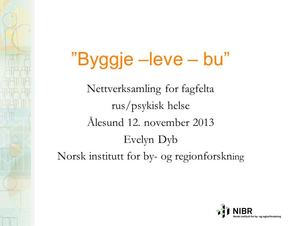 Byggje –leve – bu Nettverksamling for fagfelta rus/psykisk helse