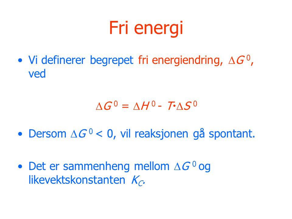 Fri energi Vi definerer begrepet fri energiendring, G 0, ved