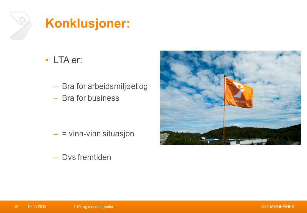 Konklusjoner: LTA er: Bra for arbeidsmiljøet og Bra for business