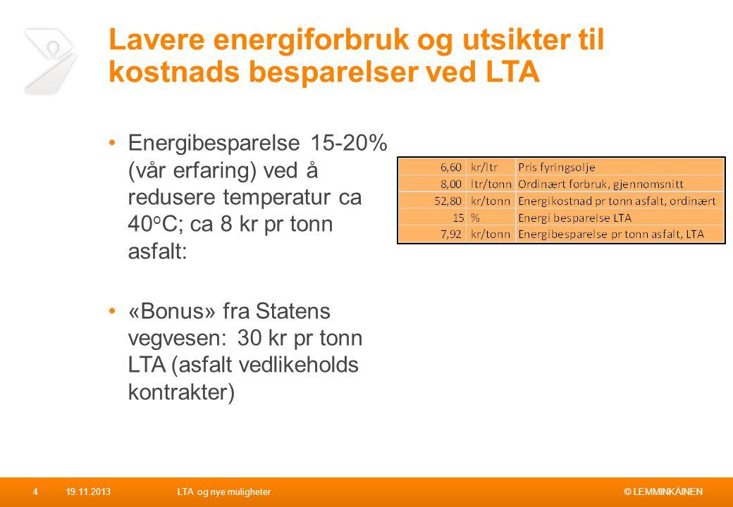 Lavere energiforbruk og utsikter til kostnads besparelser ved LTA