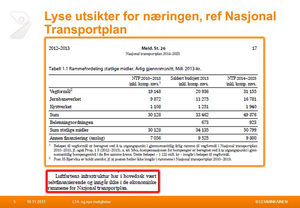 Lyse utsikter for næringen, ref Nasjonal Transportplan