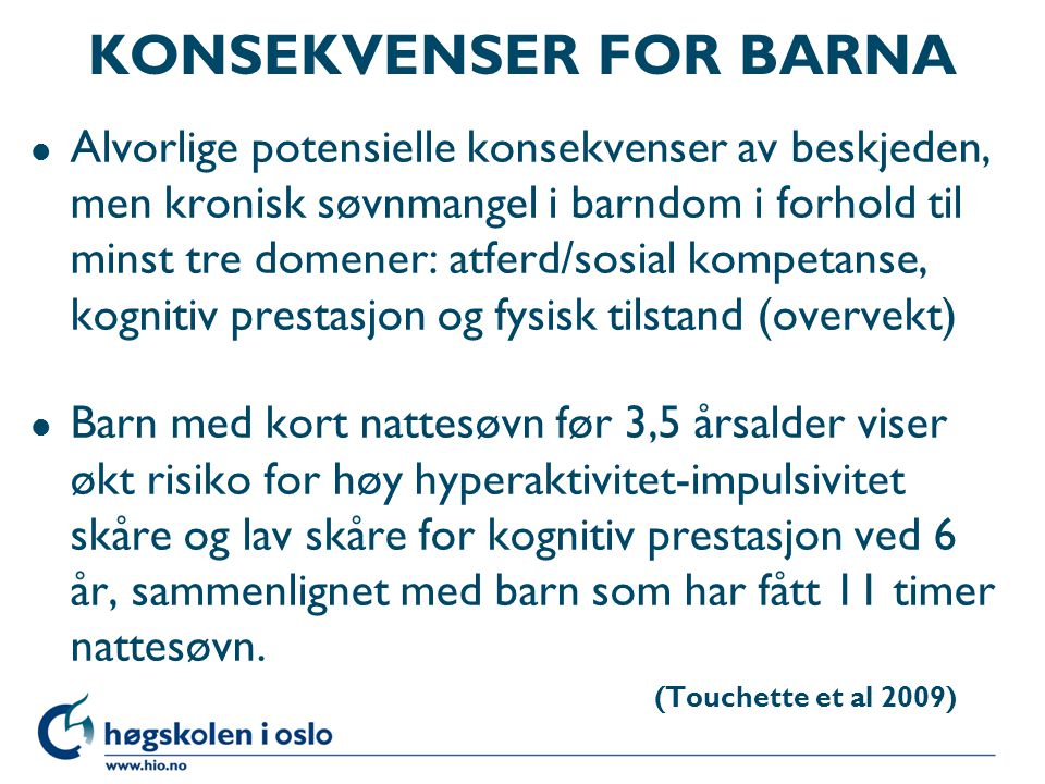 KONSEKVENSER FOR BARNA