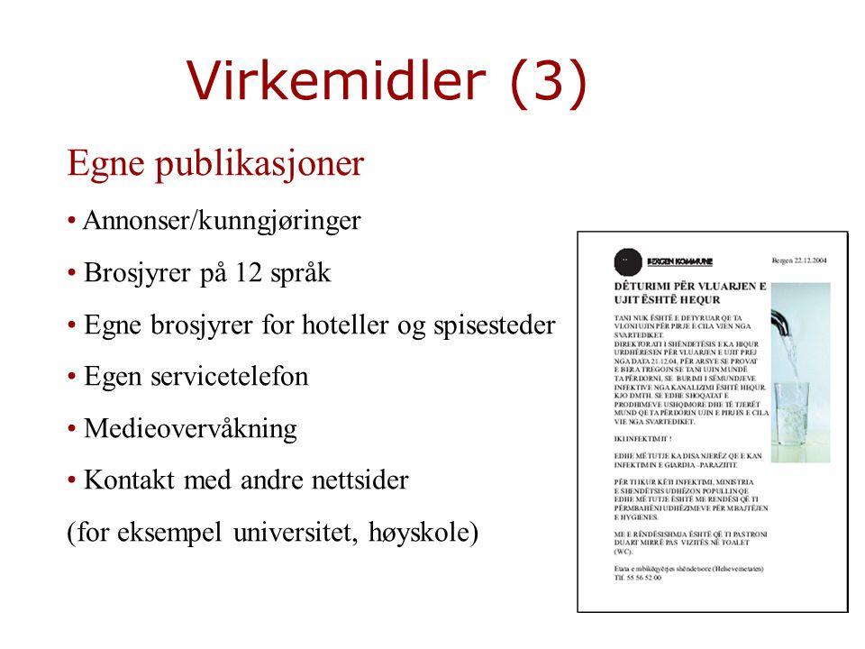 Virkemidler (3) Egne publikasjoner Annonser/kunngjøringer
