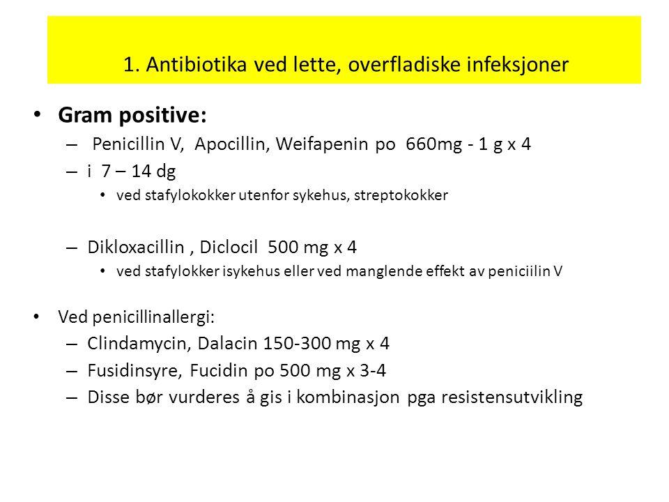 1. Antibiotika ved lette, overfladiske infeksjoner