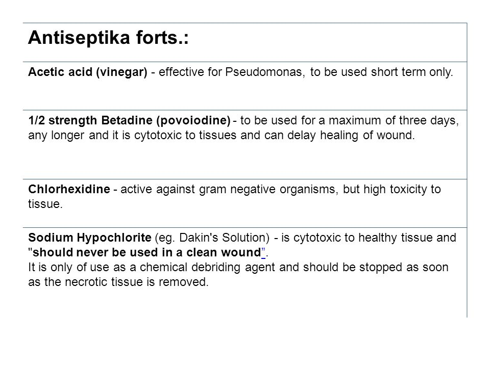 Antiseptika forts.: Acetic acid (vinegar) - effective for Pseudomonas, to be used short term only.