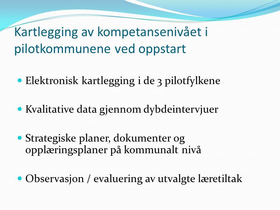 Kartlegging av kompetansenivået i pilotkommunene ved oppstart