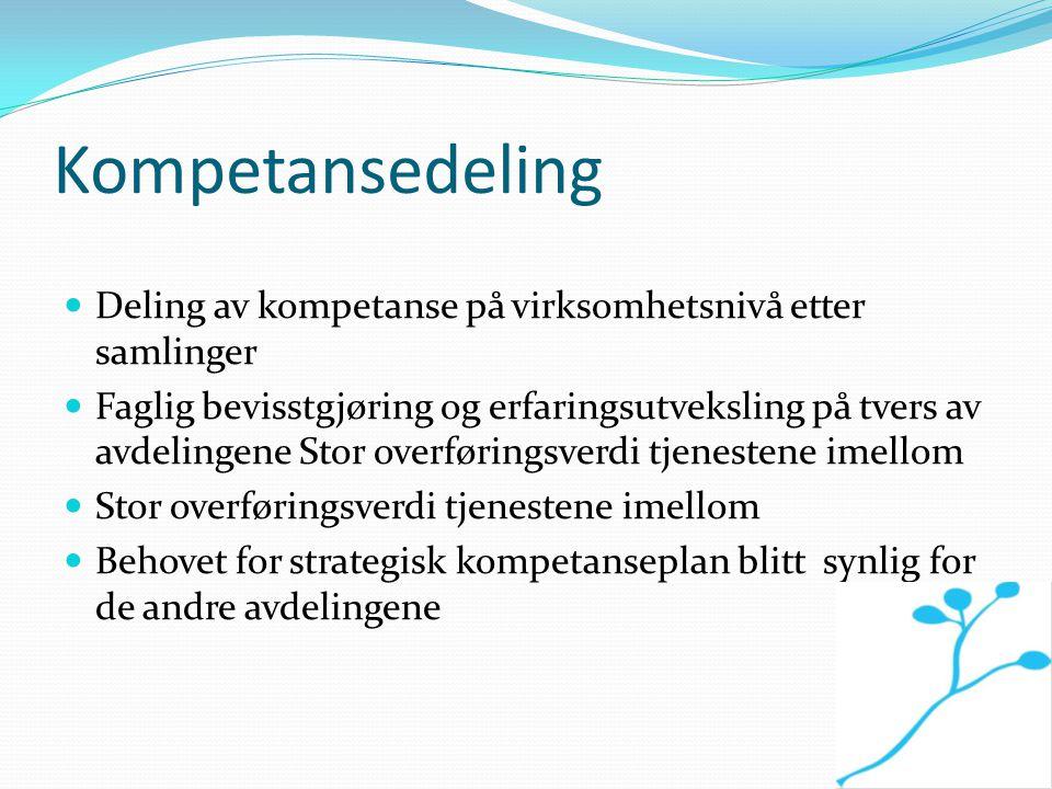 Kompetansedeling Deling av kompetanse på virksomhetsnivå etter samlinger.