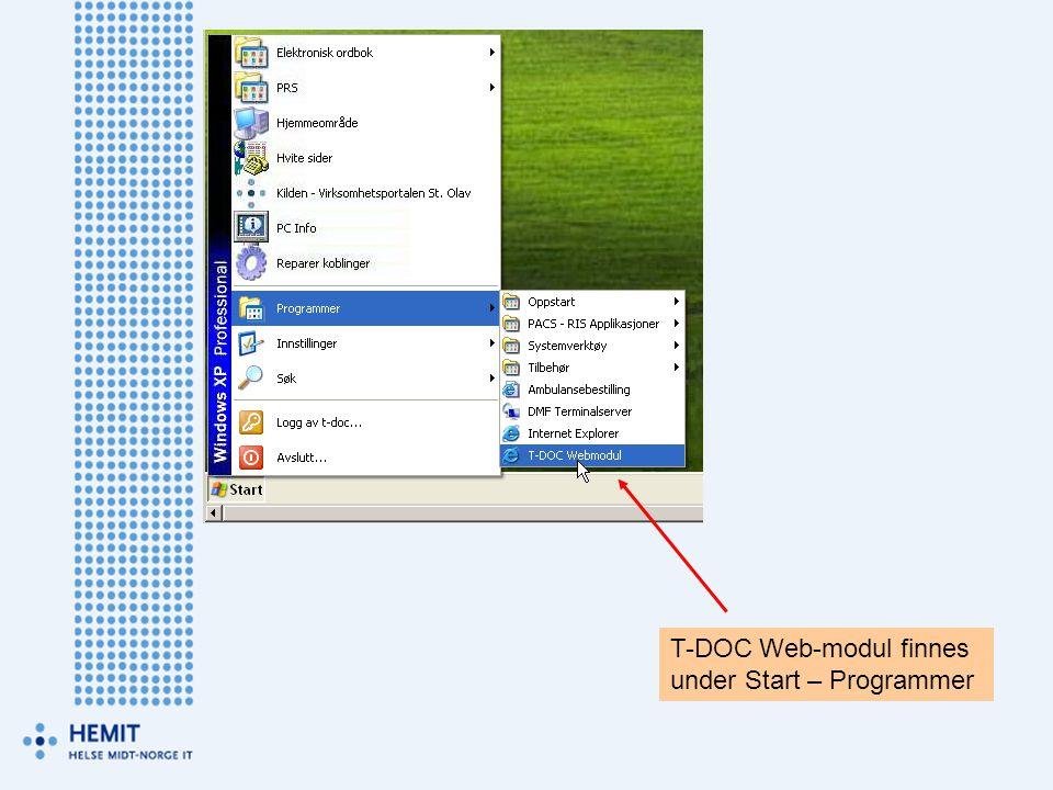 T-DOC Web-modul finnes
