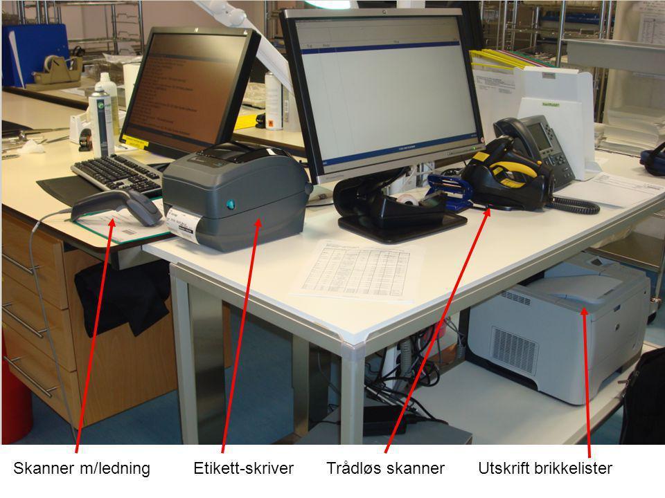 Skanner m/ledning Etikett-skriver Trådløs skanner Utskrift brikkelister