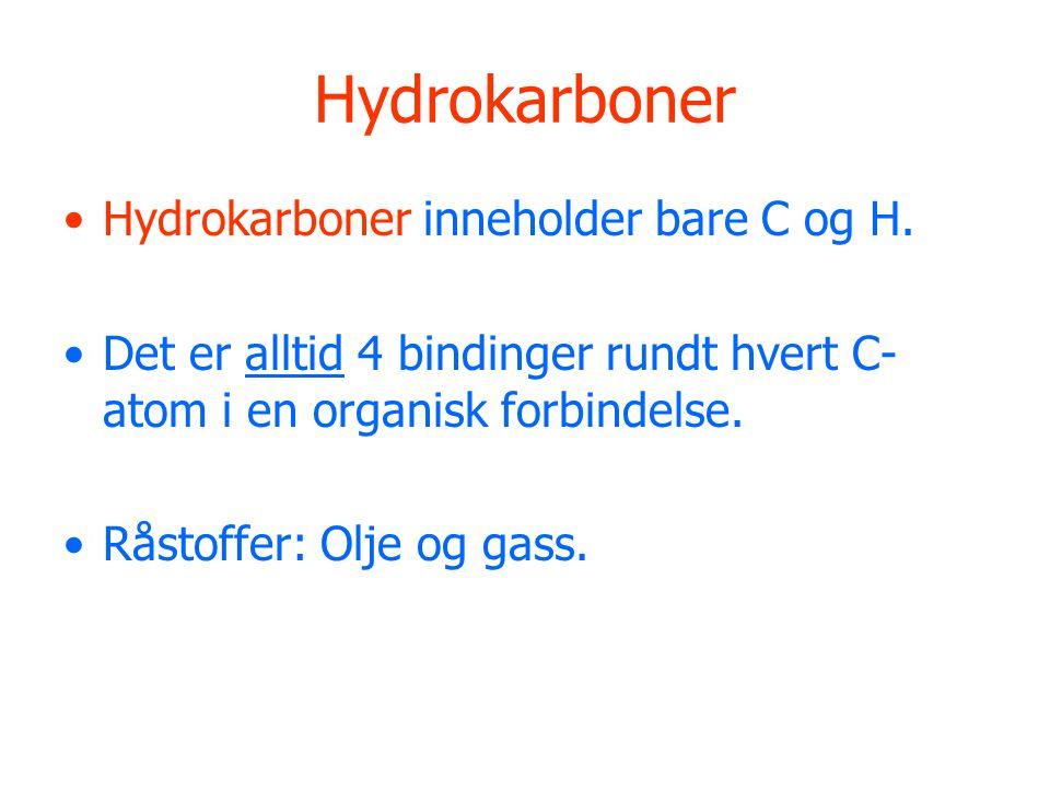 Hydrokarboner Hydrokarboner inneholder bare C og H.