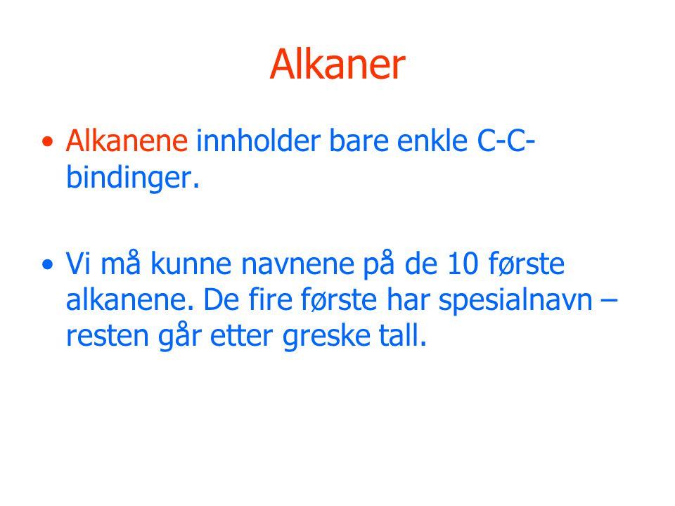 Alkaner Alkanene innholder bare enkle C-C-bindinger.