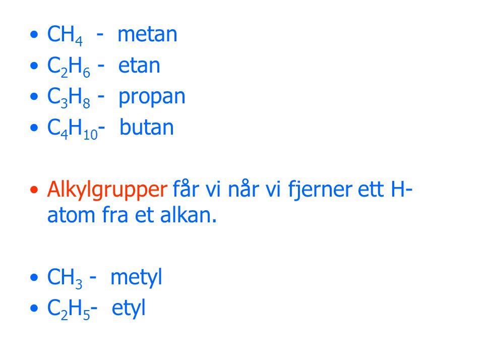 CH4 - metan C2H6 - etan. C3H8 - propan. C4H10- butan. Alkylgrupper får vi når vi fjerner ett H-atom fra et alkan.