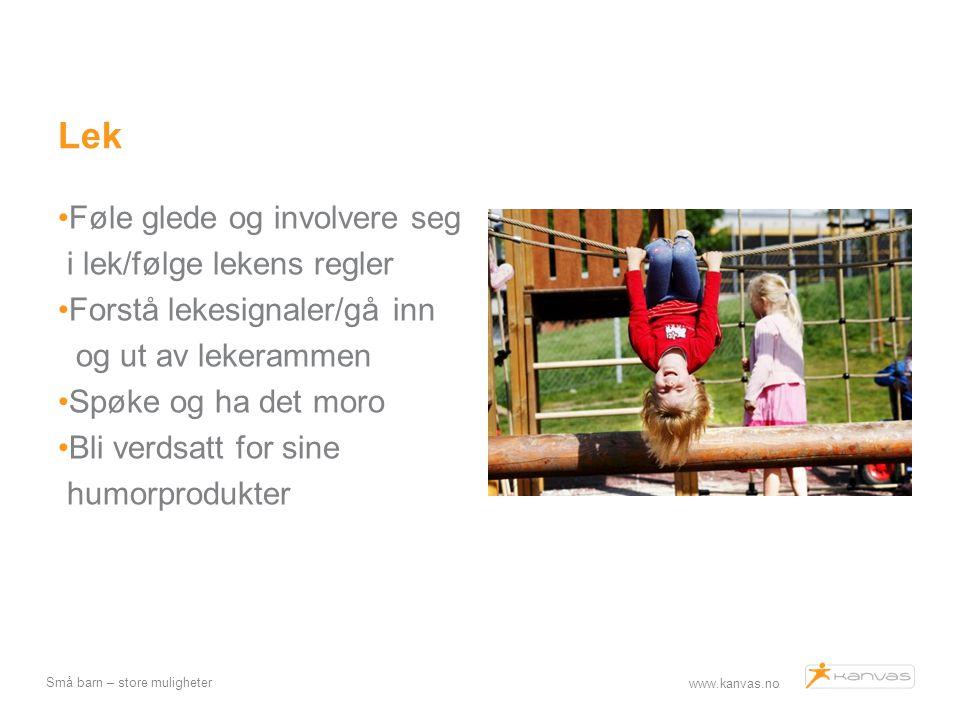 Lek Føle glede og involvere seg i lek/følge lekens regler