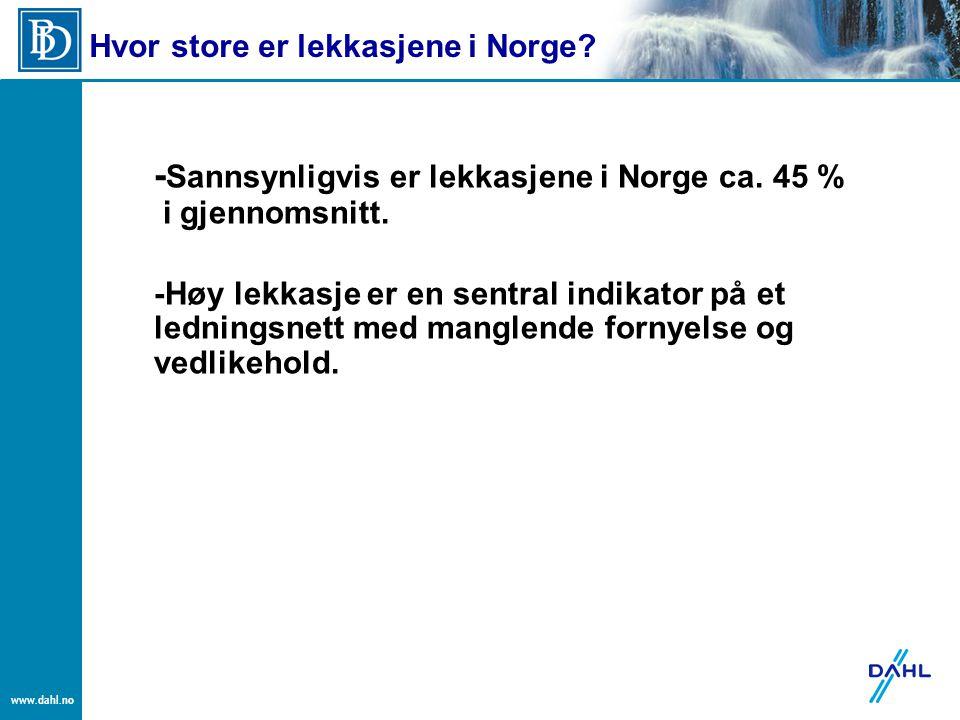 -Sannsynligvis er lekkasjene i Norge ca. 45 % i gjennomsnitt.