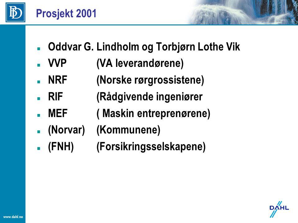 Prosjekt 2001 Oddvar G. Lindholm og Torbjørn Lothe Vik. VVP (VA leverandørene) NRF (Norske rørgrossistene)