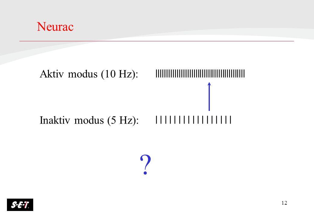 Neurac Aktiv modus (10 Hz): lllllllllllllllllllllllllllllllllllllllllll. Inaktiv modus (5 Hz): l l l l l l l l l l l l l l l l l.