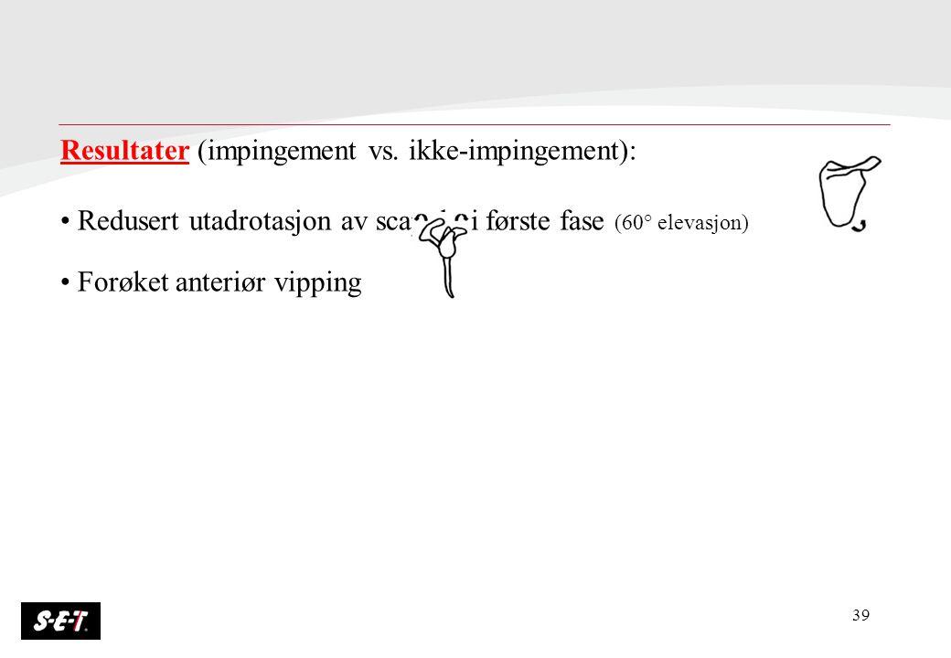 Resultater (impingement vs. ikke-impingement):
