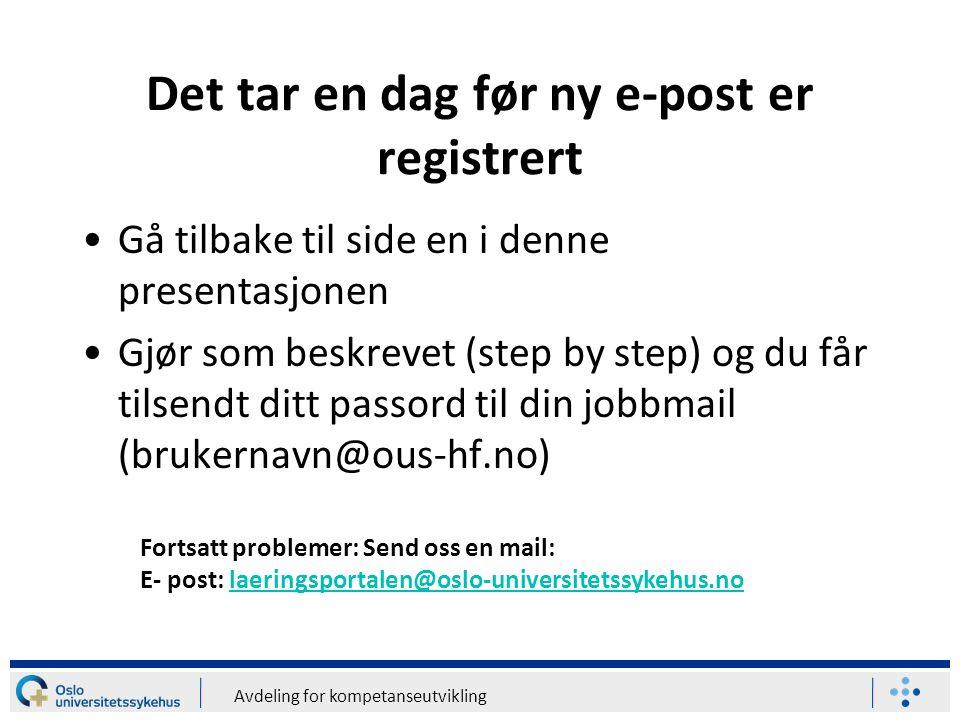 Det tar en dag før ny e-post er registrert