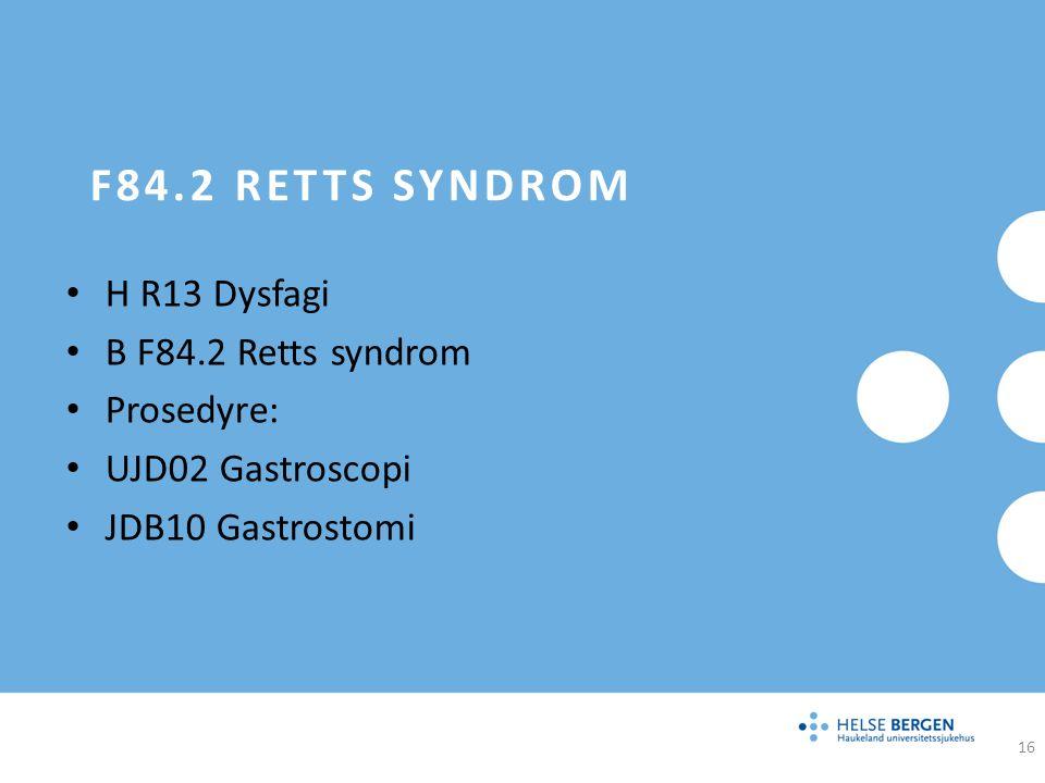 F84.2 Retts syndrom H R13 Dysfagi B F84.2 Retts syndrom Prosedyre: