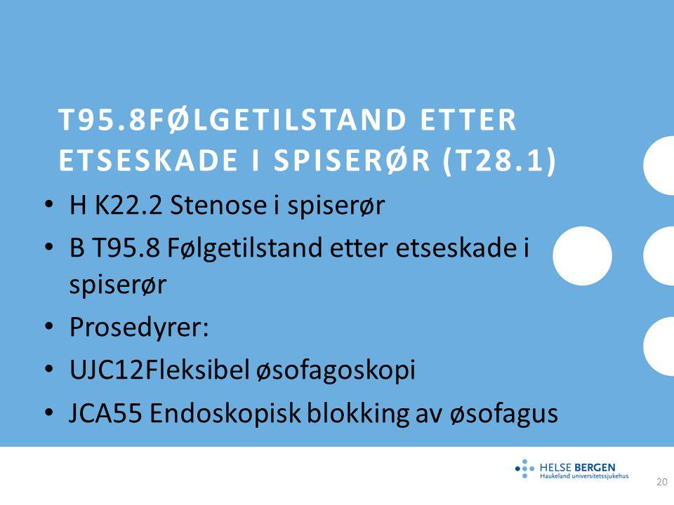 T95.8Følgetilstand etter etseskade i spiserør (T28.1)